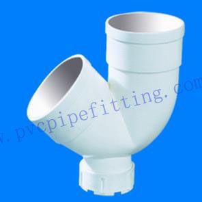 GB PVC DWV FITTING DOUBLE SOCKET TRAP WITH CLEANOUT