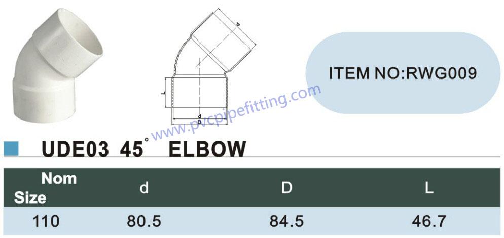 110mm pvc gutter 45 deg elbow size