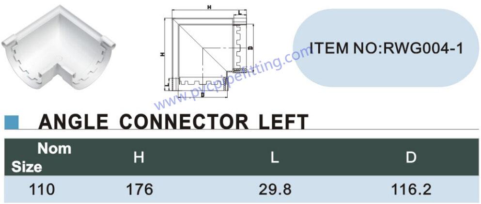 110mm pvc gutter 90 deg connector left size