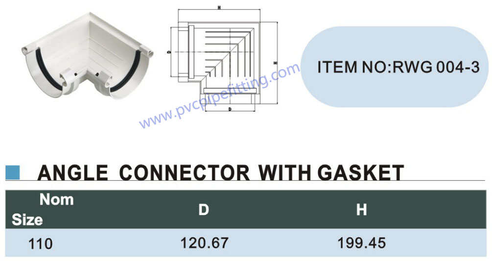 110mm pvc gutter 90 deg connector with gasket size