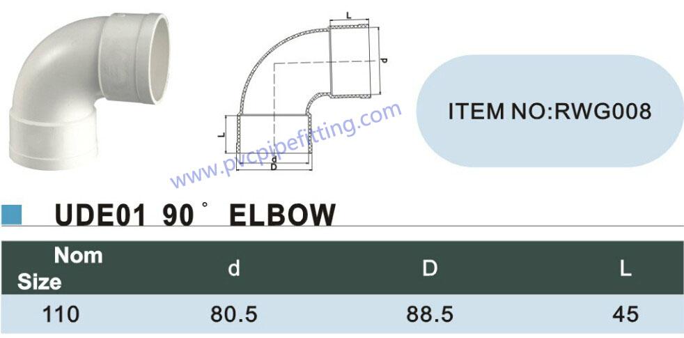 110mm pvc gutter 90 deg elbow size