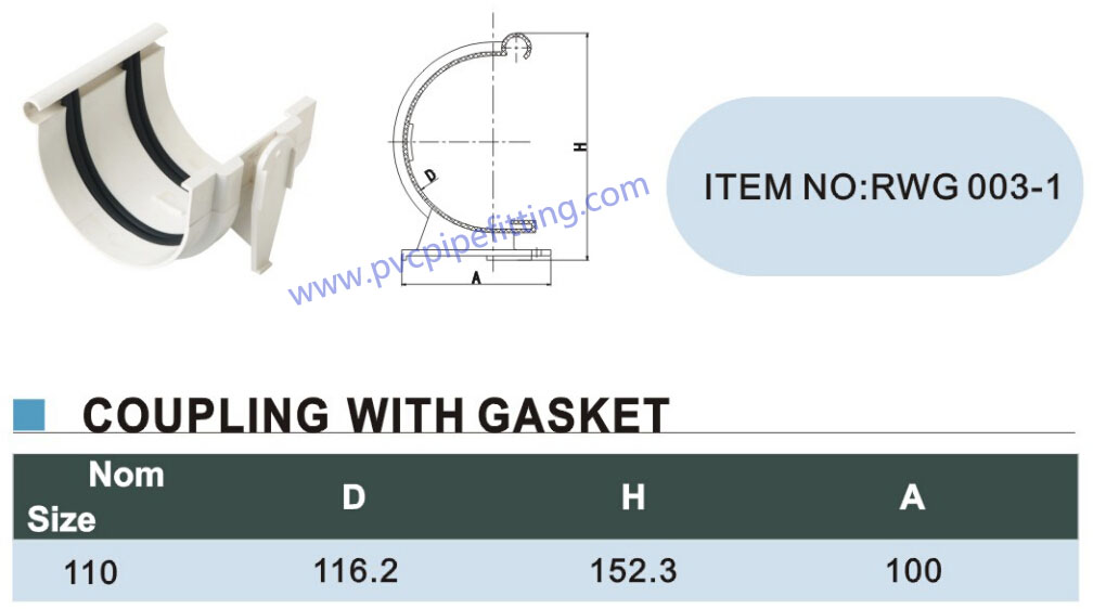 110mm pvc gutter Coupling with gasket size
