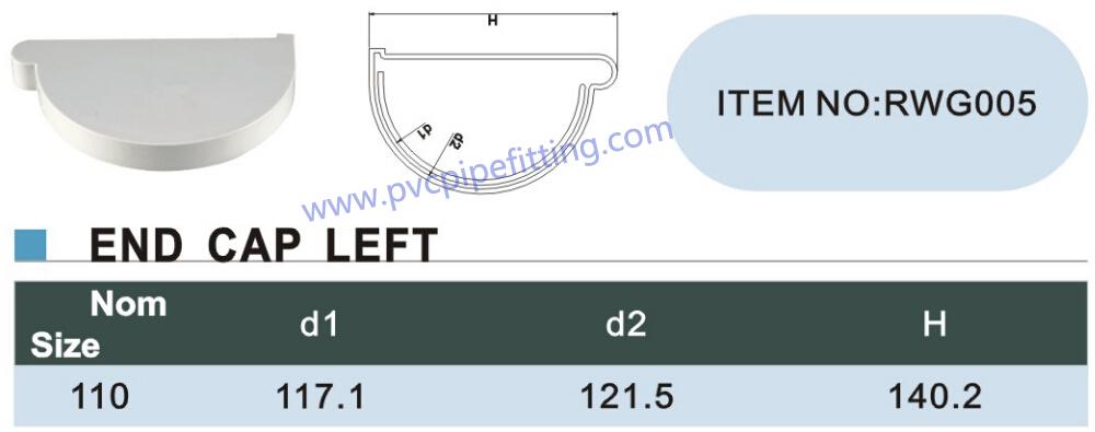 110mm pvc gutter end cap left size
