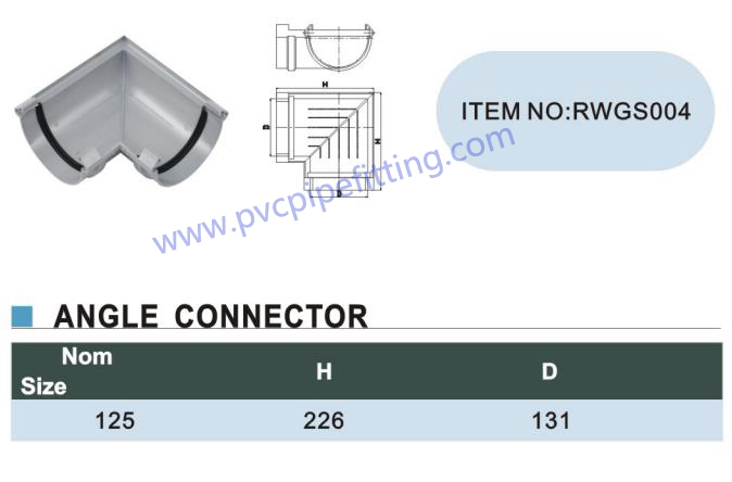 125MM pvc gutter Angle connector size