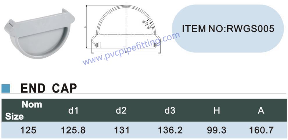 125MM pvc gutter End cap size
