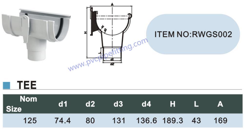 125MM pvc gutter Tee size