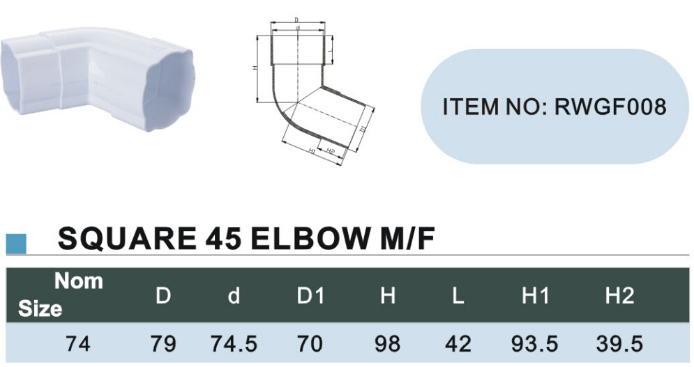125mm pvc gutter Square 45 elbow M size