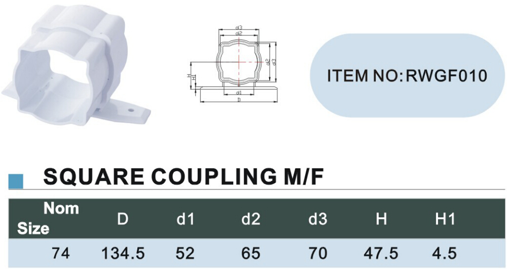125mm pvc gutter Square coupling MF size