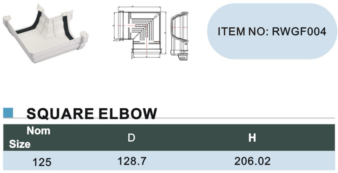 125mm pvc gutter Square elbow size
