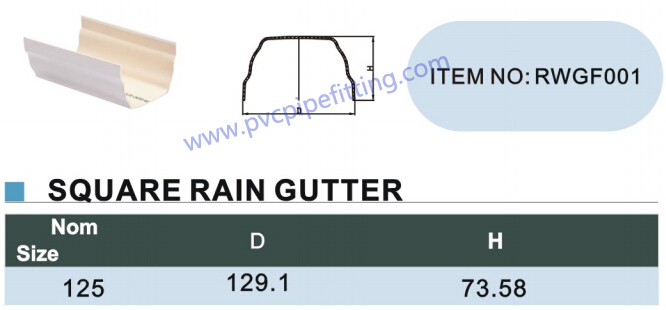 125mm pvc gutter Square rain gutter size