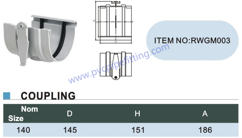 140MM PVC GUTTER Coupling size