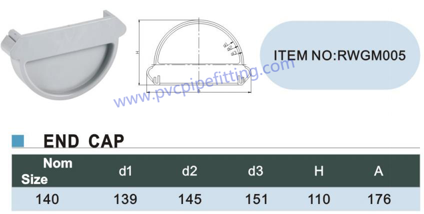 140MM PVC GUTTER End cap size