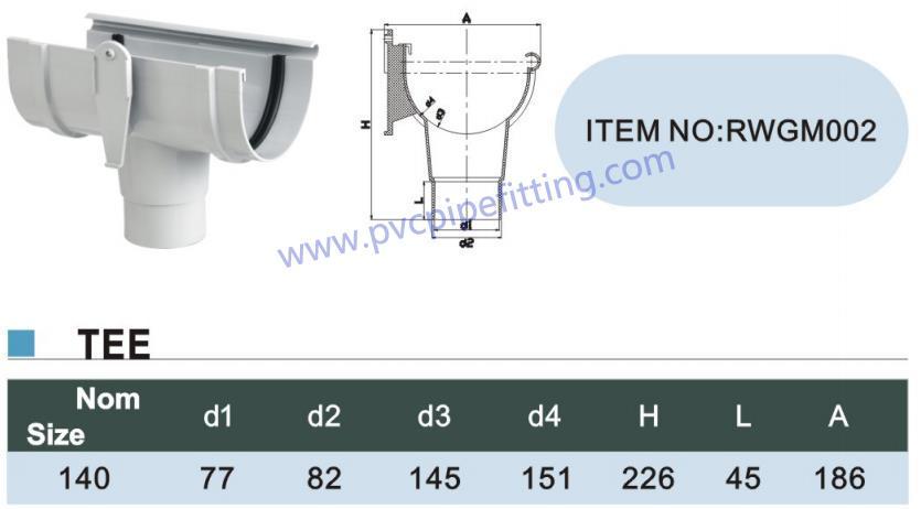 140MM PVC GUTTER Tee size