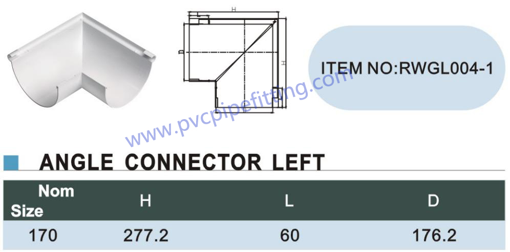 170MM PVC GUTTER Angle connector left size