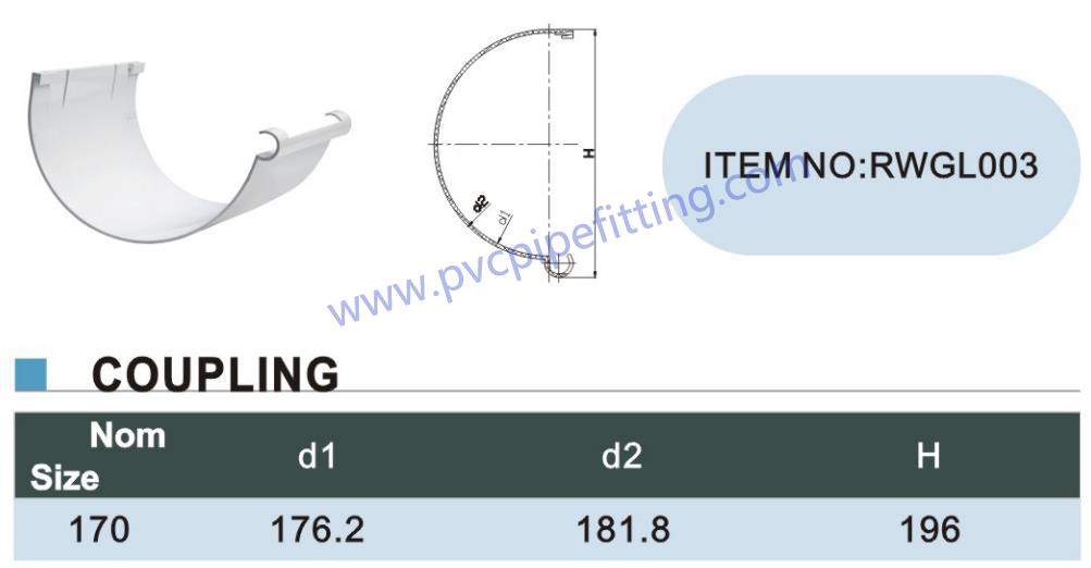 170MM PVC GUTTER coupling size