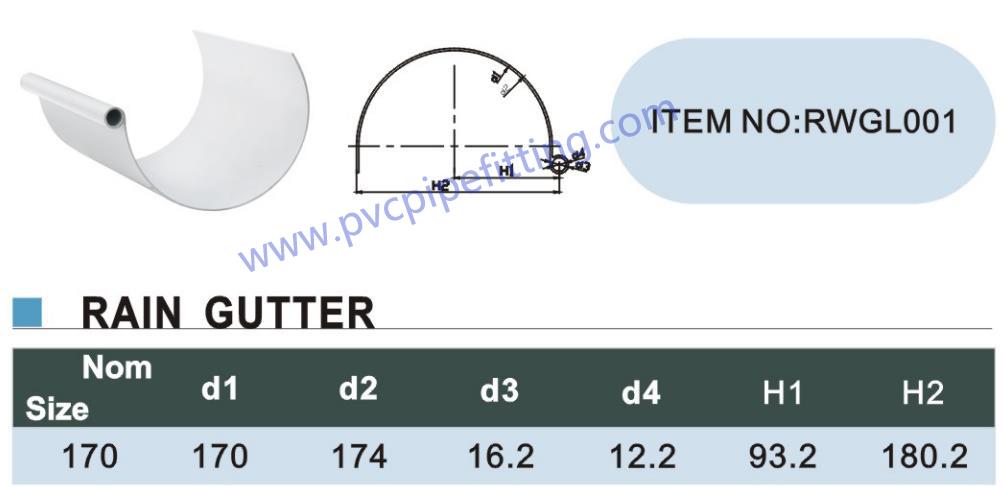 170MM PVC GUTTER size