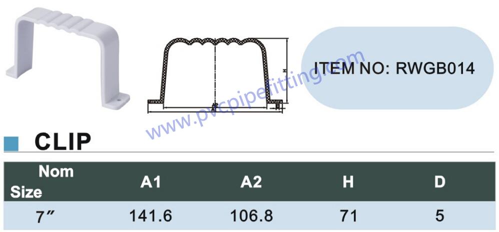 7 inch PVC GUTTER CLIP size