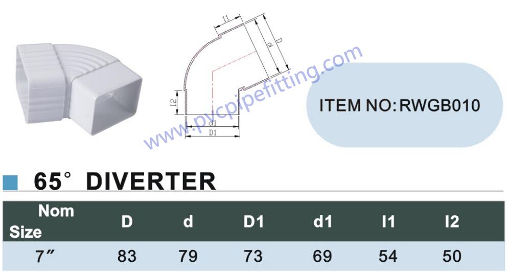 7 inch pvc gutter 65 DEG Diverter size