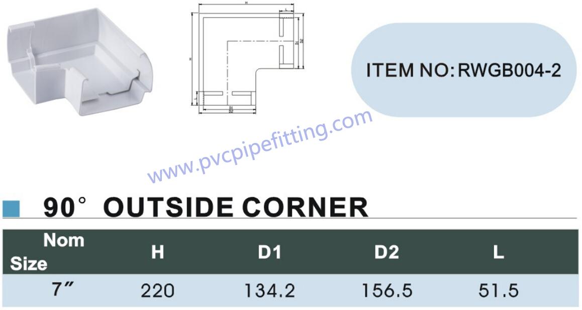 7 inch pvc gutter 90 DEG outside corner size