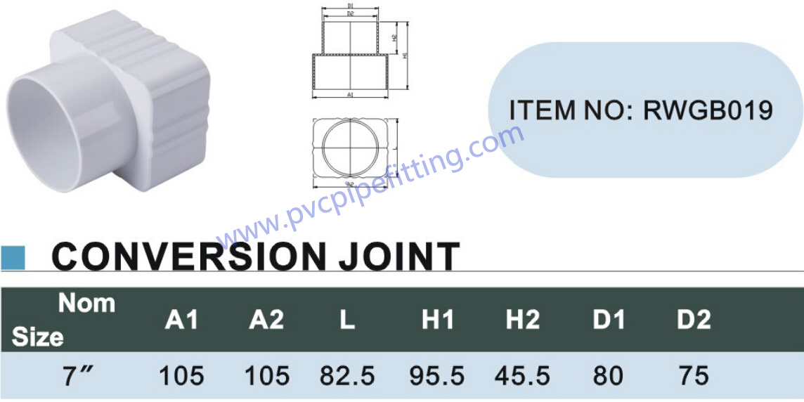 7 inch pvc gutter CONVERSION JOINT size