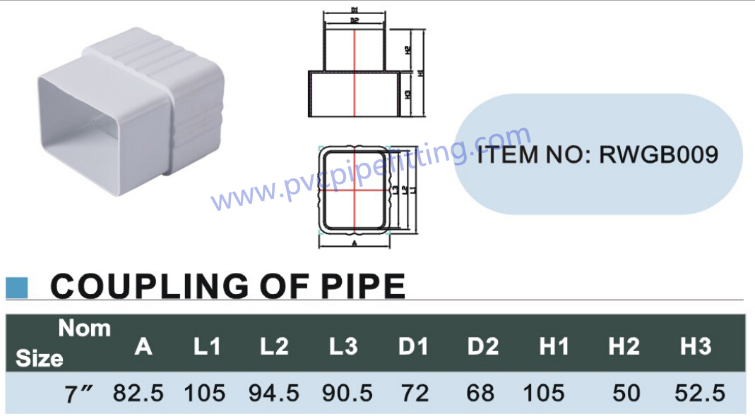 7 inch pvc gutter Connector size
