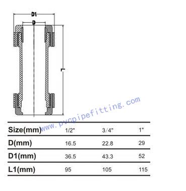 CPVC ASTM D2846 COMPRESSION COUPLING SIZE