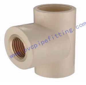 CPVC DIN FITTING FEMALE TEE WITH BRASS THREADE