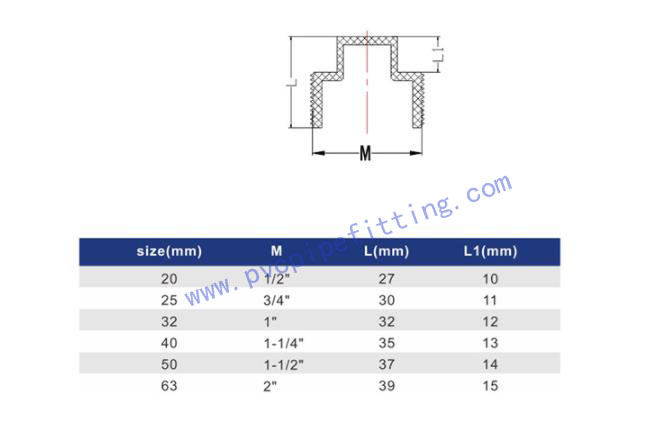 GB PVC FITTING MALE PLUG FOR WATER SUPPLY SIZE