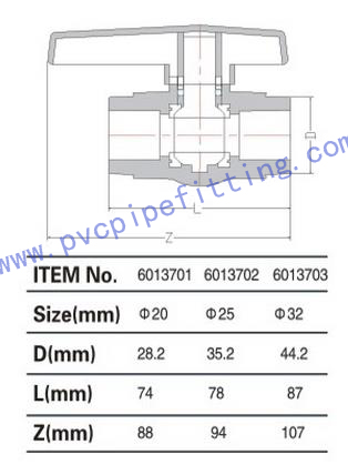 PPR FITTING NEW STYLE BALL VALVE SIZE