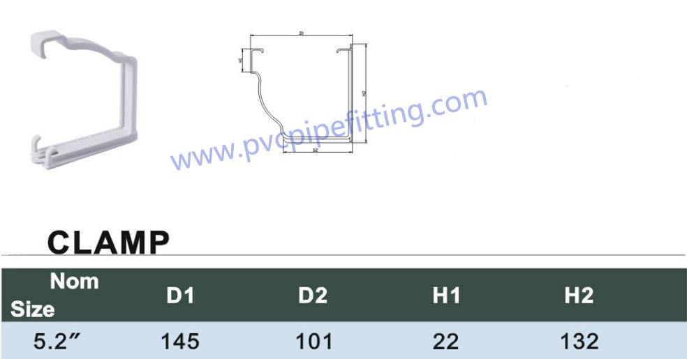 PVC GUTTER CLAMP size