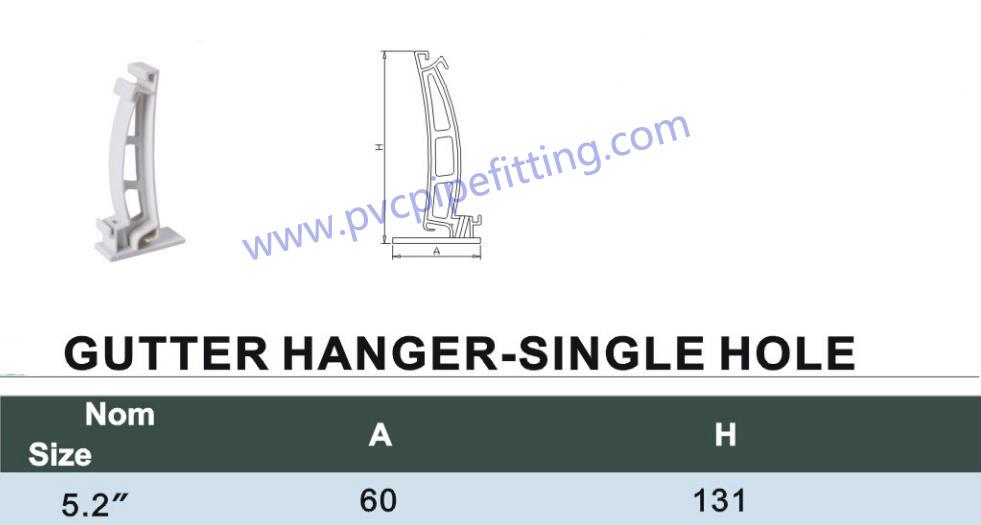 PVC gutter hanger size
