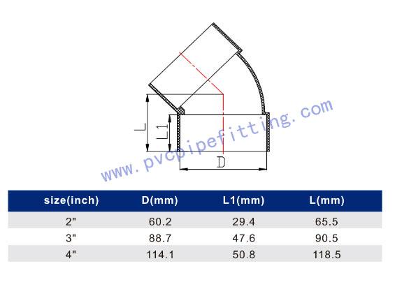 SCHEDULE 40 PVC DWV FITTING 45 DEG VENT ELBOW(ASTM D2665) SIZE