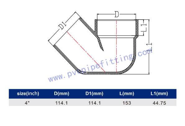 SCHEDULE 40 PVC DWV FITTING SYPHON (ASTM D2665) SIZE