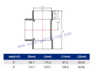 SCHEDULE 40 PVC DWV FITTING TEE (ASTM D2665) SIZE