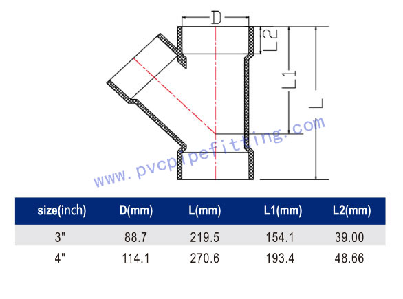 SCHEDULE 40 PVC DWV FITTING WYE TEE (ASTM D2665) SIZE