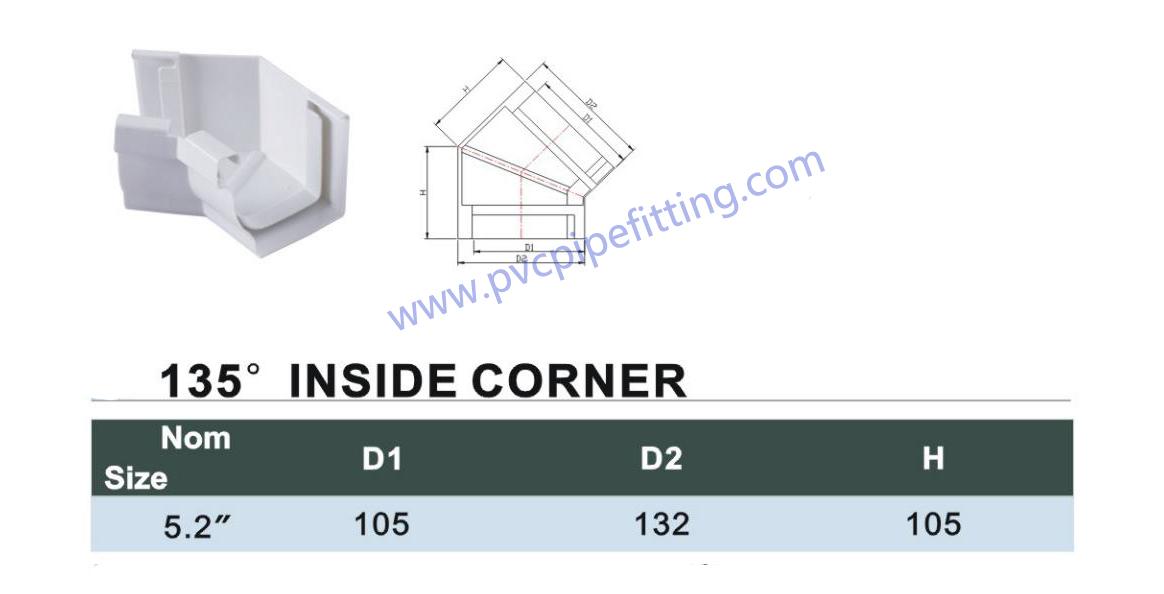 pvc gutter 135deg inside corner size
