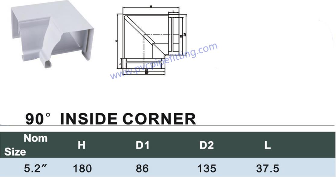 pvc gutter 90DEG inside corner size