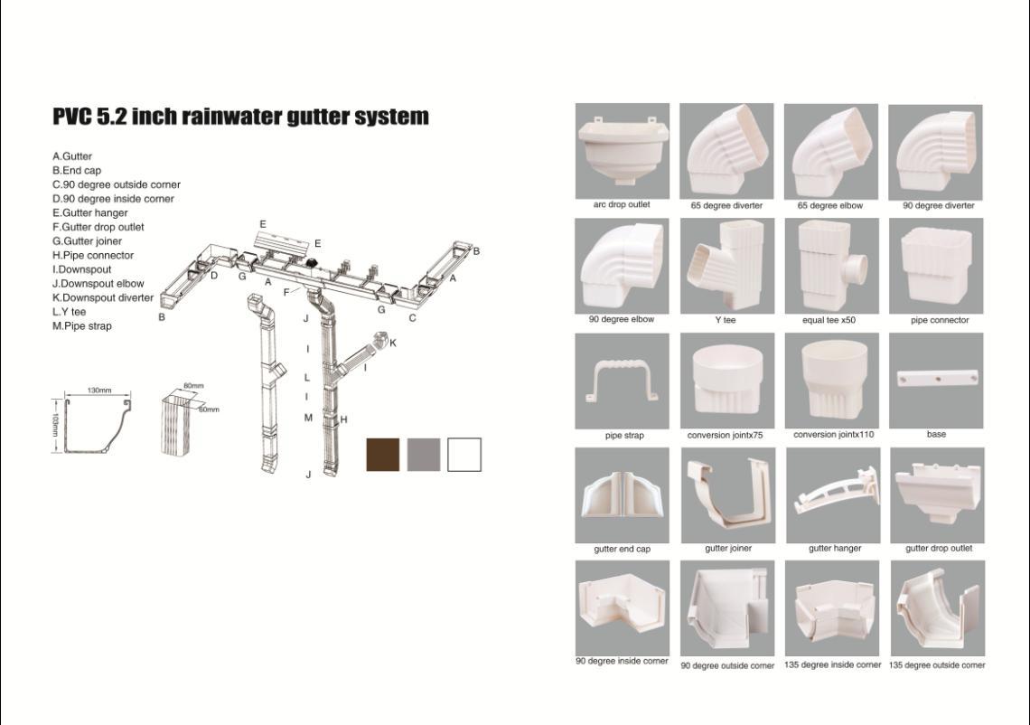pvc 5.2 inch rainwater gutter system
