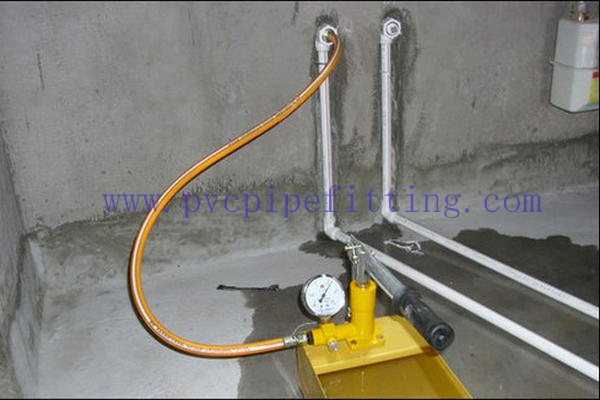 Steps for the hydrostatic test of PVC pipe fittings